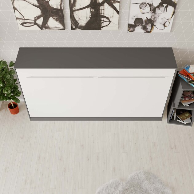 SMARTBett Cama abatible de pared Standard 90x200 Horizontal Antracita/Blanco con resortes de gas