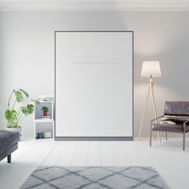 SMARTBett Cama abatible de pared Standard 140x200 Vertical Antracita/Blanco con resortes de gas