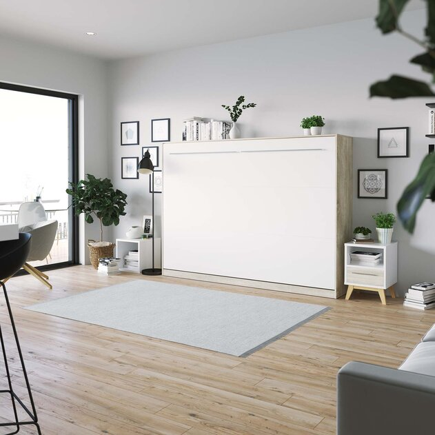 SMARTBett Cama abatible de pared Standard 140x200 Horizontal Roble Sonoma/Blanco con resortes de gas