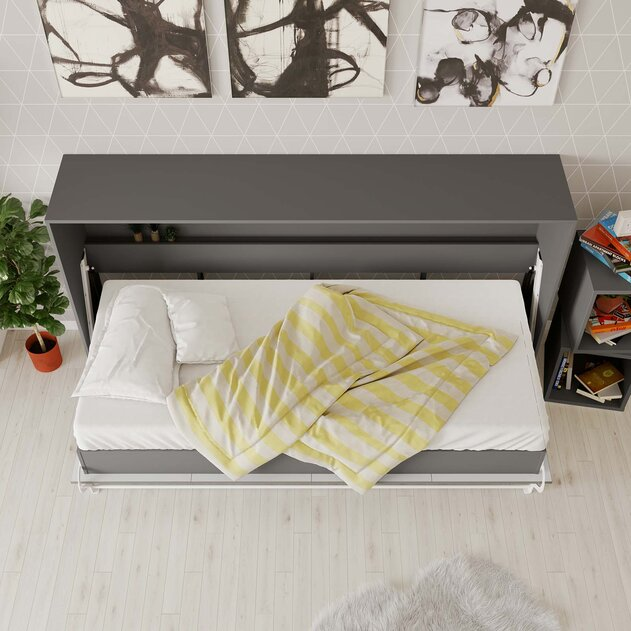 SMARTBett Cama Abatible de pared Estándar Confort 90x200 Horizontal Antracita con resortes de gas
