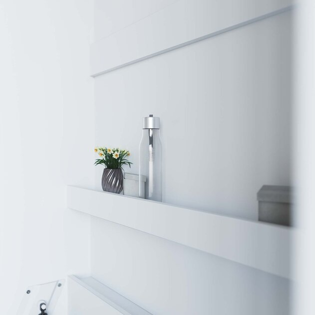 SMARTBett Cama Abatible de pared Estándar Confort 90x200 Vertical Blanco/Roble Sonoma con resortes de gas