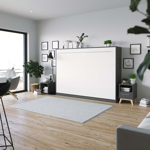 SMARTBett Cama Abatible de pared Estándar Confort 140x200 Horizontal Antracita/Blanco con resortes de gas