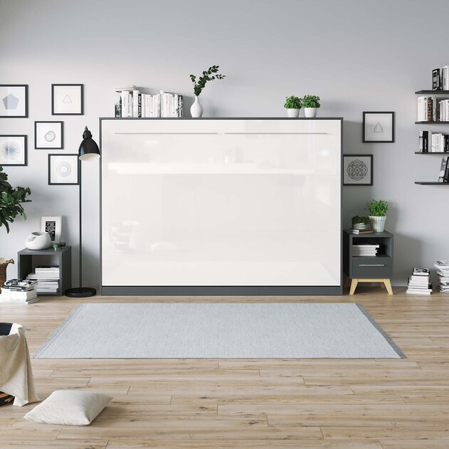SMARTBett Cama Abatible de pared Estándar Confort 140x200 Horizontal Antracita/Blanco Frente de alto brillo con resortes de gas