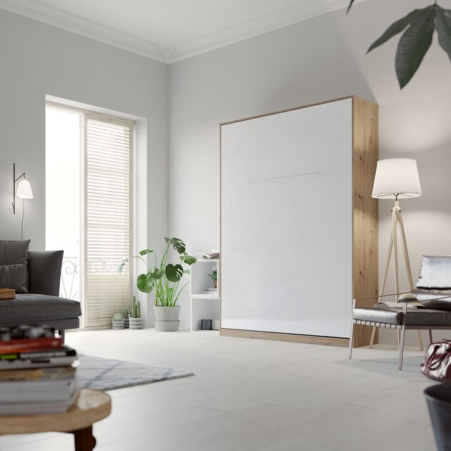 SMARTBett Cama abatible de pared Standard 140x200 Vertical Roble salvaje/Blanco brillante con resortes de gas