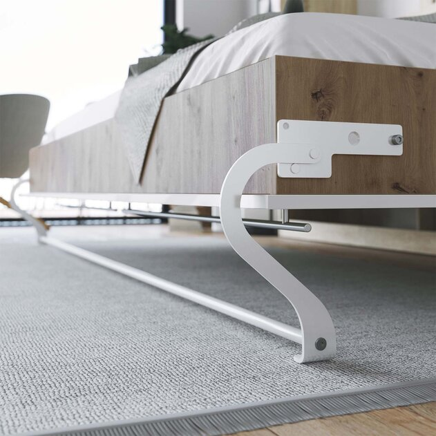 SMARTBett Cama Abatible de pared Estándar Confort 140x200 Horizontal roble salvaje/blanco Frente de alto brillo con resortes de gas