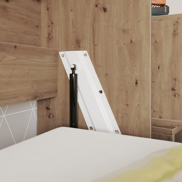 Cama de pared SMARTBett estándar 90x200 roble salvaje horizontal / blanco con resortes a presión de gas